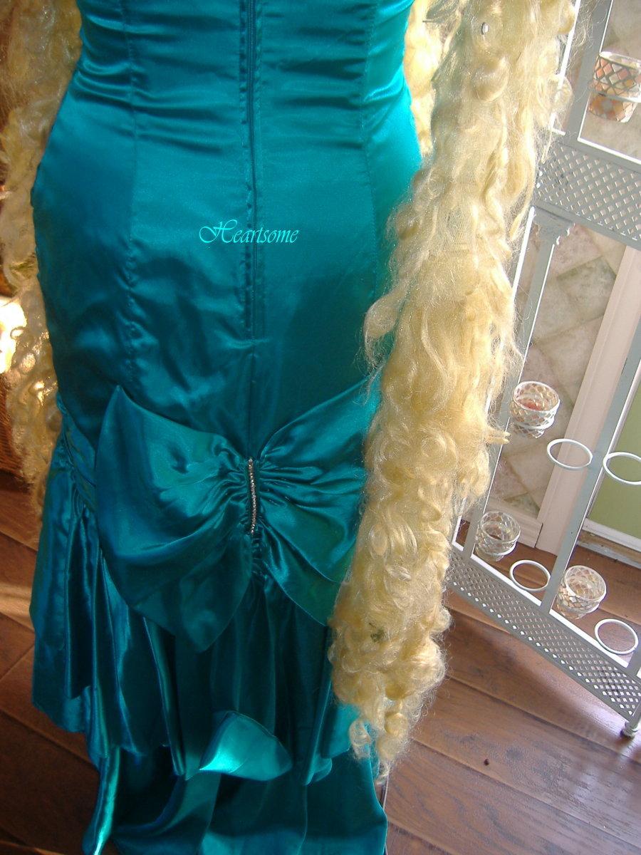 Vntg 80s dress goes mermaid fishtail costume sequins crown tiara