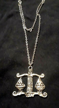 Vintage Silver Tone Balancing Scale Large Pendant Necklace Libra Lawyer - $10.00