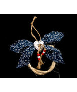 Handcrafted Western Rope and Blue Bandana Christmas Ornament - $10.98
