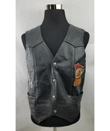 HARLEY DAVIDSON Men Vest Motorcycle Biker Black Leather  Snap Front Size... - $67.83