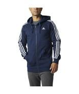 Adidas Men's Essentials 3-Stripes Fleece Hoody Navy-White BR3220 - $29.96