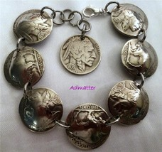 1937 80th Birthday Gift Buffalo Head Nickel Charm Bracelet Antique Coin Jewlery - $44.37