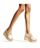 New JIMMY CHOO Size 9 DEEDEE Silver Logo Cork Platform Slides Heels Shoe... - $298.00