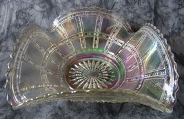 Vintage IMPERIAL Ruffle Scalloped Bowl Block White Carnival Glass Bowl 1... - $34.65