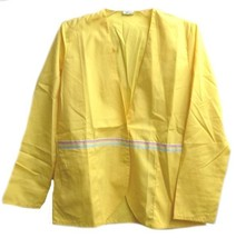 Yellow Scrub Jacket 3XL Snap Front V Neck Scrub Rainbow Ribbon Trim Wome... - $19.57
