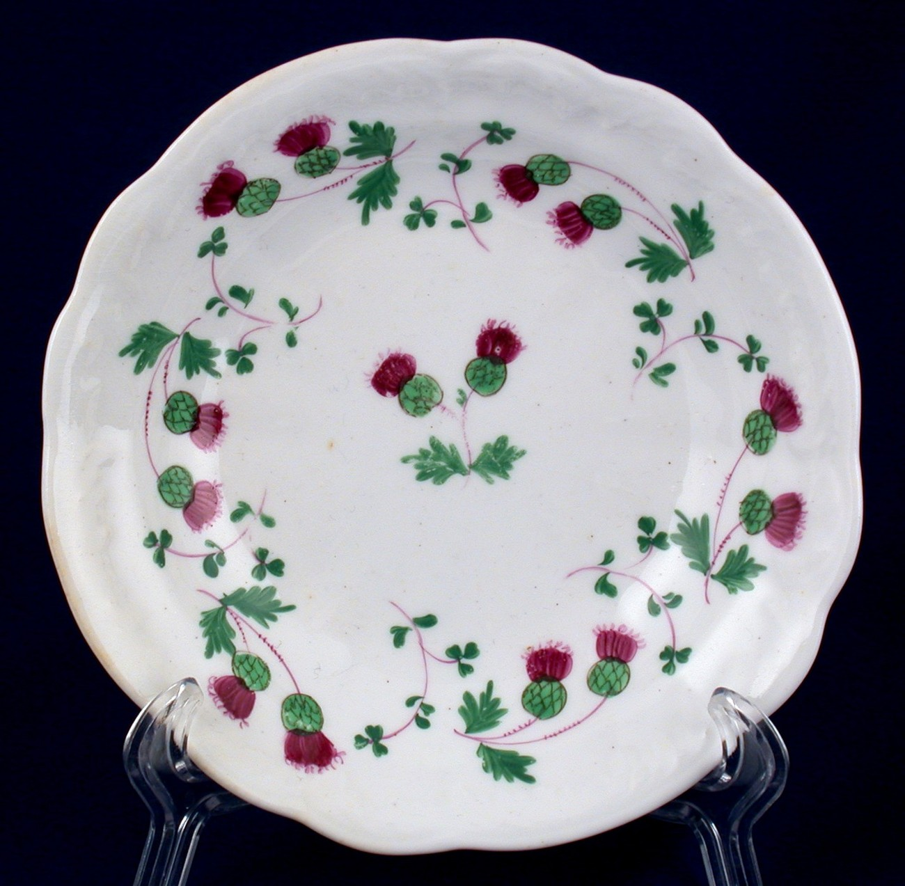 Thistle Pattern Fruit Dessert Bowl Hand Painted Vintage China