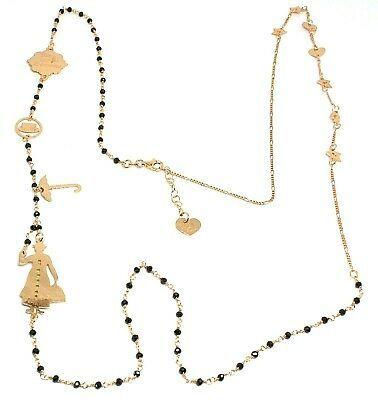 Long Necklace 90 CM, Silver 925, Mary, Hat, Umbrella, Stars, Le Favole