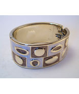 Bangle Bracelet Hinged Enamel Metallic Ivory Chocolate Brown Color Block... - $6.99