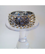 Bangle Bracelet Hinged Silver with Yellow Rhinestones - $6.99