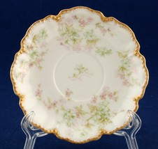 Haviland Limoges Demitasse Saucer for Chocolate Cup Scalloped Beaded Gold Trim - $6.00