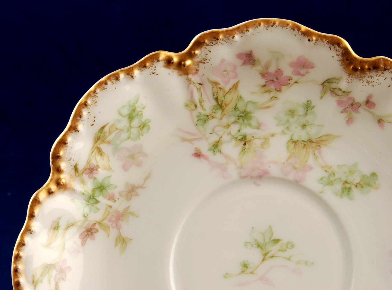 Haviland Limoges Demitasse Saucer for Chocolate Cup Scalloped Beaded Gold Trim