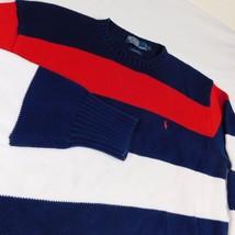 Polo Ralph Lauren Red White Blue Striped Crew Neck Knit Sweater Cotton Color Blk - $79.99