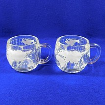 2 Vintage NESTLE NESCAFE Etched Clear Glass World Globe Map Coffee Mugs ... - $14.50