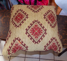 "Gold Brown Burgundy Southwest Print Leather Backed Decorative 20"" Throw ... - $44.95"