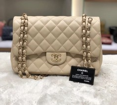 Authentic Chanel Beige Quilted Lambskin Jumbo Classic Double Flap Bag GHW