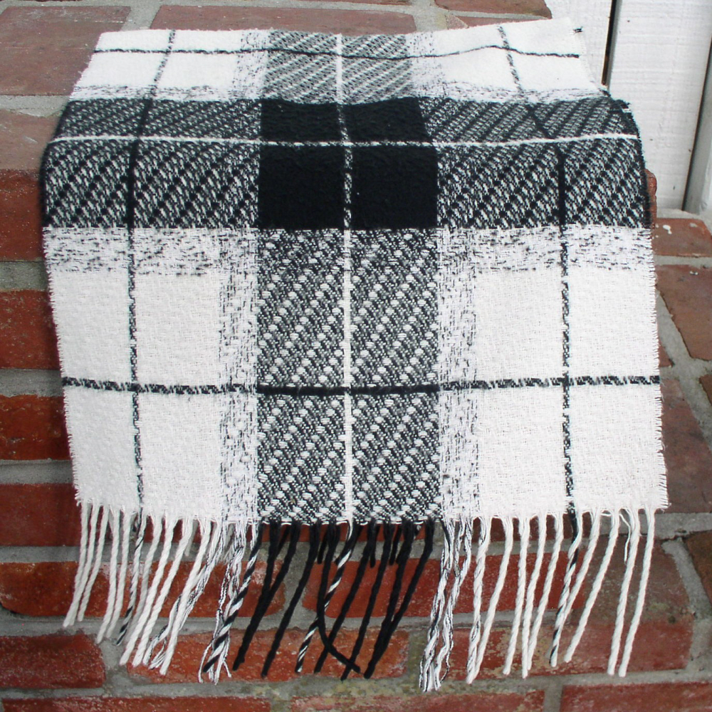 Cashmink black and white checked scarf on bonanza