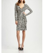 Diane von Furstenberg Linda Wrap Dress in Popcorn Black size S - $279.99