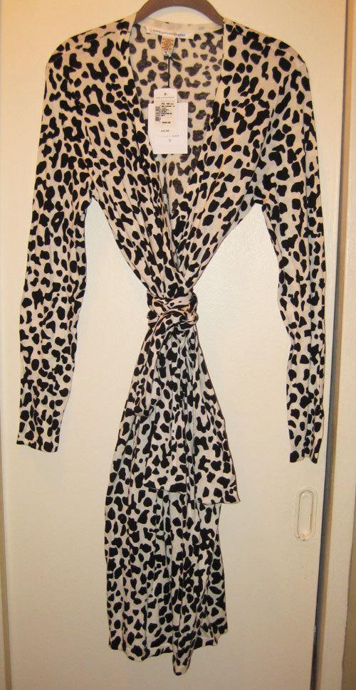 Diane von Furstenberg Linda Wrap Dress in Popcorn Black size S