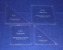 "4 Piece Square & Triangle Set 4"" & 5"" -"" Clear Acrylic - Quilt Templates- 1/8 - $32.99"