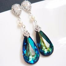 Bermuda Blue Swarovski Earrings - Statement Pearl Crystal Bridal - $35.00