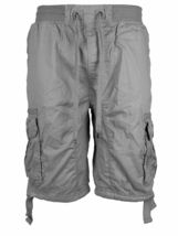 LR Scoop Men's Elastic Waist Drawstring Multi Pocket Cotton Cargo Shorts CJS-80 image 9