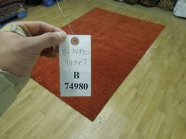 5' x 7' Shades of Red Soft Modern Red Gabbeh Wool Hand-Knotted Rug image 9