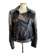 Burberry Brit Women's Leather Spiked Motorcycle Moto Biker Jacket Coat S... - $2,299.99