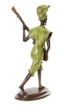 Burkina Bronze Griot with Xalam Sculpture Fair Trade Handmade Home Decor... - $184.00