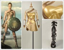 2017 Wonder Woman Golden Amazon Battle Cosplay Costume+Sandals Shoes Custom Made - $128.69+