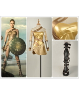 2017 Wonder Woman Golden Amazon Battle Cosplay Costume+Sandals Shoes Cus... - $128.69+