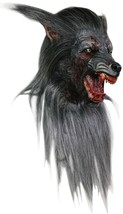 Black Wolf Adult Deluxe Werewolf Halloween Latex Mask with Hair - £70.16 GBP