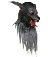 Black Wolf Adult Deluxe Werewolf Halloween Latex Mask with Hair - £71.29 GBP