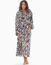 EMBRACEABLE Long Plush Robe Textured Cat Cool Gray by Soma, L/XL - $50.00