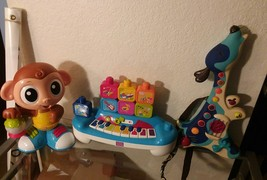 Lot of toys , Little Tikes Monkey , Good condition , build block music ,... - $29.02