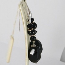 925 STERLING SILVER PENDANT EARRINGS WITH BLACK ONYX NUGGETS 2.4 INCHES LONG image 2