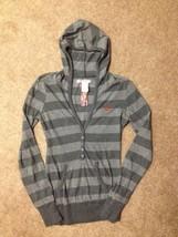 Womens BILLABONG Striped Charcoal Gray Pullover HOODIE Sweatshirt XS Sur... - $9.99