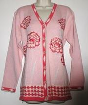 Storybook Cardigan  Beaded  Fancy Stitch  Pink  Rose Med - $15.00