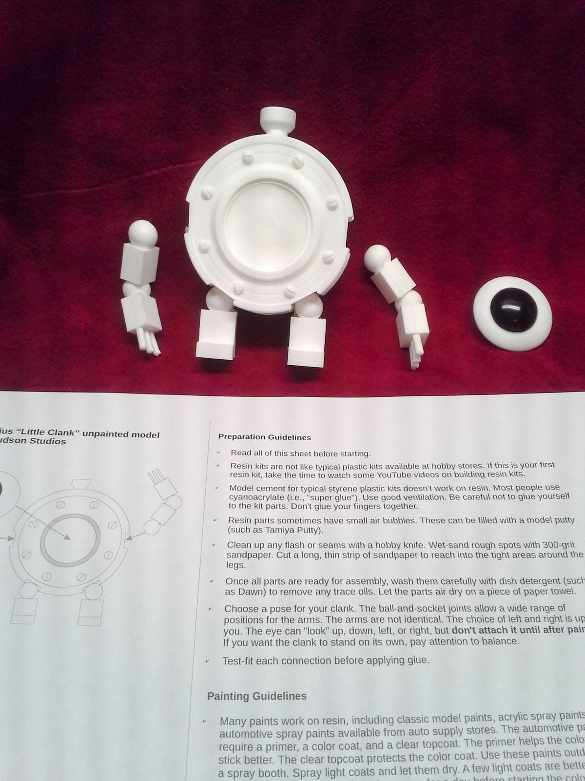 "Licensed Handmade Simplified Kit #2! Girl Genius Little Clank resin, 4"" tall!"