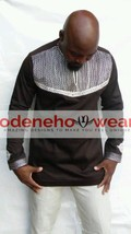 Odeneho Wear Men's Brown Polished Cotton Top/Embroidery Design.African Clothing - $84.15+