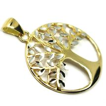 Pendant Gold 750 18K, Yellow White, Tree of Life, Leaf Root, Pendant image 3