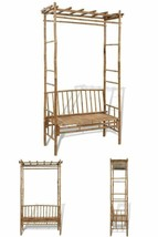 Wooden Pergola Bench Outdoor Patio Yard Climbing Flowers Trellis 2 Seate... - $217.17