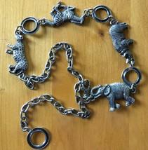 Silver-Tone Metal African Wildlife Chain Belt Zebra Leopard Rhino Elephant - $17.60