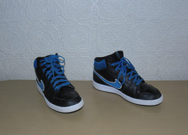 Black Leather & Blue Stripe NIKE Lace Up Casual Ankle Trainers Sneakers Sz 38/ 5 - $16.12