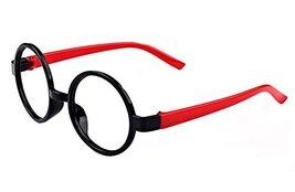 Round Children Plastic Decorative Glasses Frame, Red Black