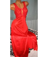 Red Stretch Lace Bodice Long Nightgown L Sexy Slit Keyhole Nylon Skirt - $22.75