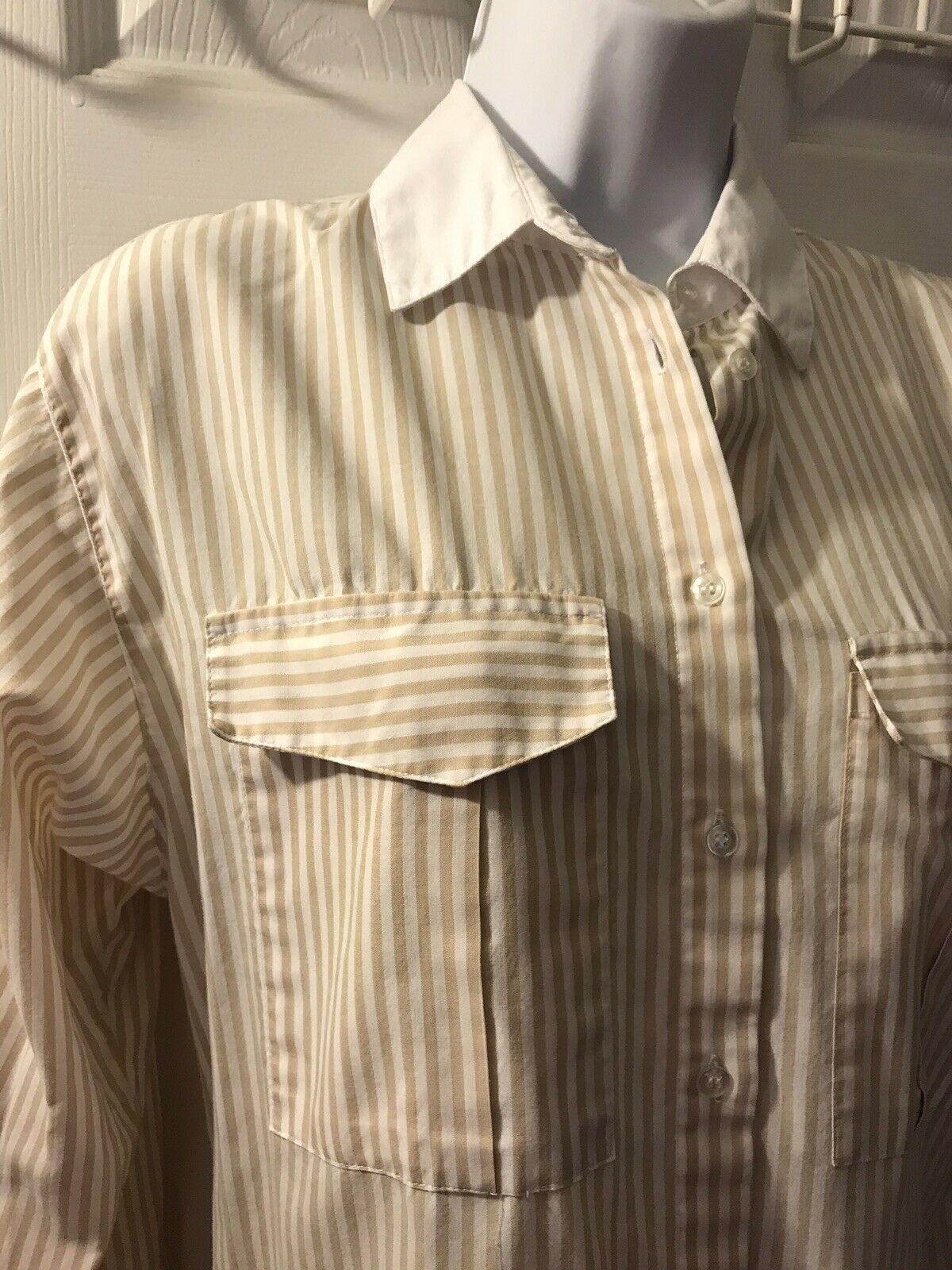 Vtg DIANE VON FURSTENBERG Striped Button Down Shirt DVF White Tan Blouse Top 14 image 3