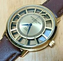 Stuhrling Original Mens 50m Gold Tone Swiss Analog Quartz Watch Hour~New... - $32.29