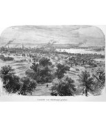 LOUISVILLE View from Asylum for Blinds - 1883 German Print - $21.60