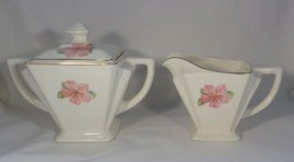 Creamer & Sugar & Lid Brotherhood Pottery - Victory Blossom Gold Accents... - $5.94