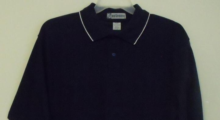 Mens NWT Navy Blue White Trim Short Sleeve Polo Shirt Size Large